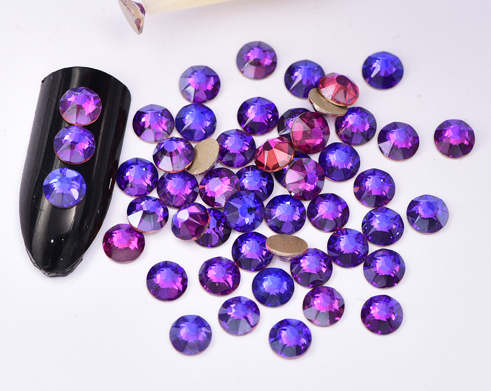 16 Perfect Cut Facets New Product Purple Velvet Nail Rhinestone