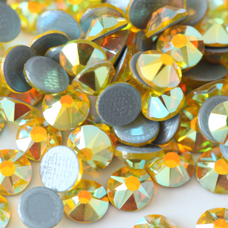 P42 Citrine ab 2088 style 16 cut facets hot fix rhinestones
