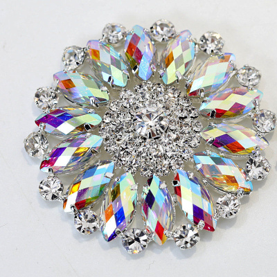 Crystal ab sew on rhinestone applique with silver base