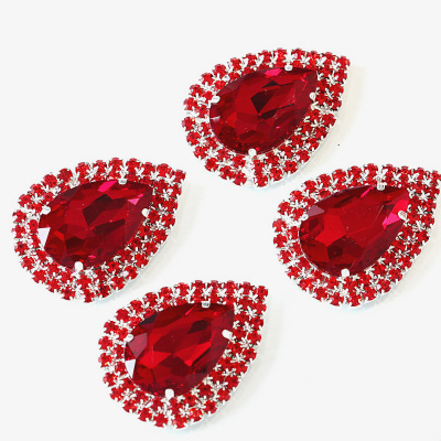 Glass teardrop sew on rhinestone corsages appliques