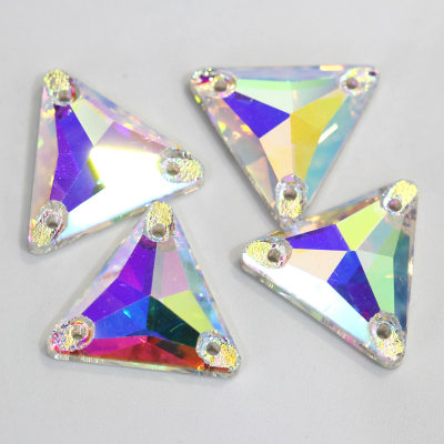 Factory wholesale K9 flat back 12mm triangle crystal sew on gems