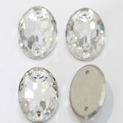 Factory top quality flatback crystals oval shape sew on strass