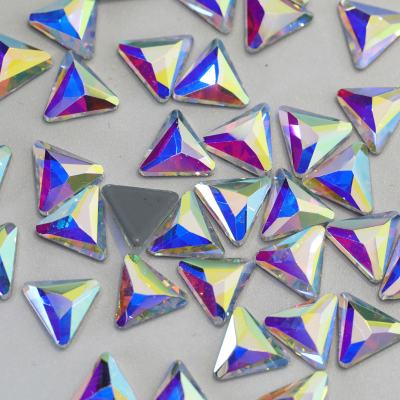 8# Multi Faceted Triangle Shape Hotfix Glass Rhinestones Strass Crystal