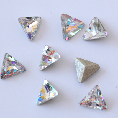 K9 quality point back fancy shape triangle nail rhinestones