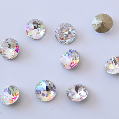 K9 quality point back fancy shape round nail rhinestones