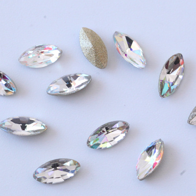 K9 quality point back shape navette nail rhinestones