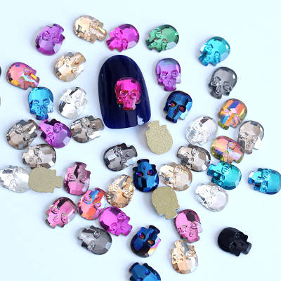 Colorful glass skull nail rhinestones