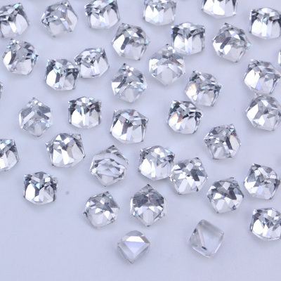 Glass 4mm square crystals beads