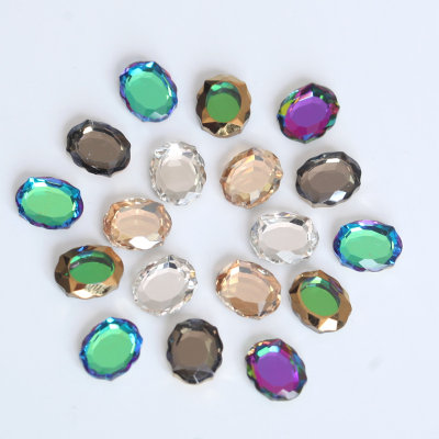 Glass magic mirror gold foil flat back nail rhinestones