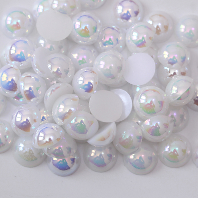 ABS Plastic White AB Half Cut Facets Pearl Decorative Beads for Jewelry Making