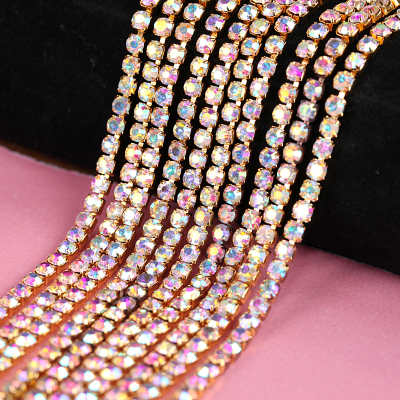 1 row flat back crystal ab sew on rhinestone trimming
