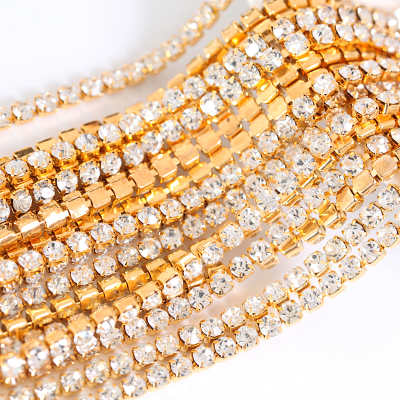 sew on crystal rhinestone gold base cup chain trimming