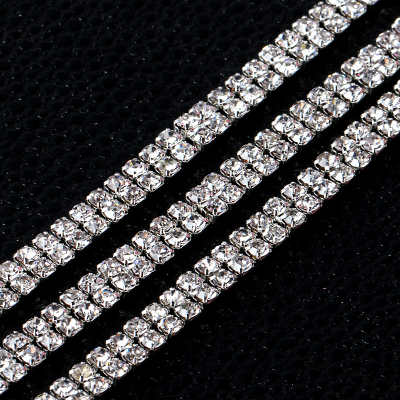 2 rows close crystal rhinestone chain trimming
