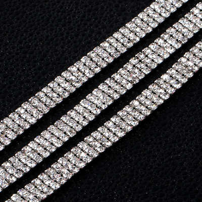 3 rows dense glass sew on rhinestone cup chain trimming