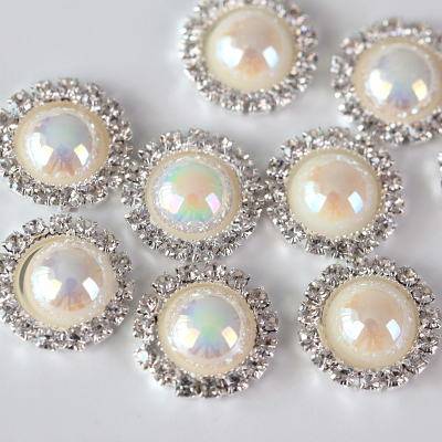 15mm Rice White AB Crystal Pearl Buttons for Clothes
