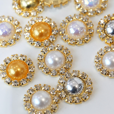 Flatback Round Pearl Rhinestone Gold Base Buttons