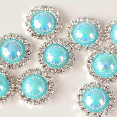 Aquamarine AB Pearl Crystal Silver Bases Buttons for DIY Jewelry