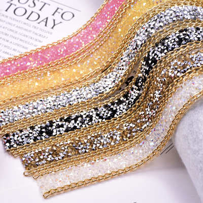 Factory Direct Wholesale Resin Rhinestone Mesh Banding For Sandals Decorations