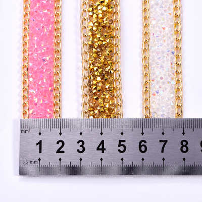 New Design Resin Iron on Rhinestone Chain Mesh Sheet For DIY