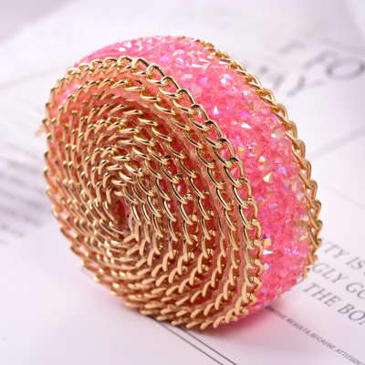 Wholesale Colorful Hot Fix Resin Rhinestone Chain Mesh Sheet For Clothing