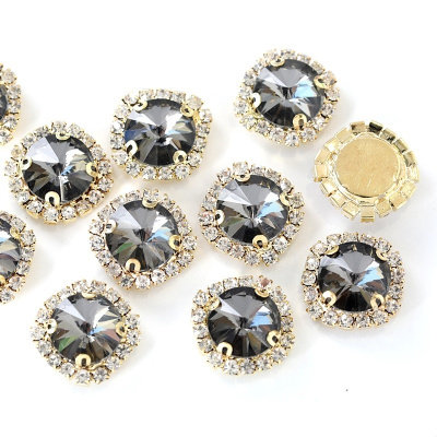 12 mm rivoli glass sewing on rhinestone with gold claw