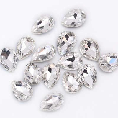 Glass pointed back fancy shape crystal teardrop rhinestones