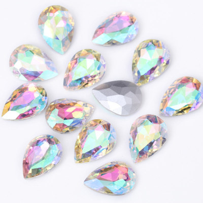 Glass pointed back fancy shape teardrop rhinestones