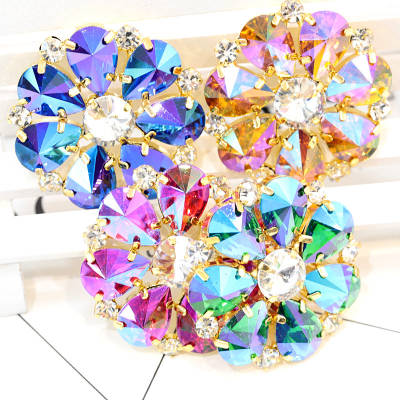 Colorful sew on rhinestone applique with gold base