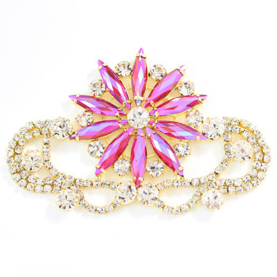 Colorful glass sew on rhinestone applique with gold base