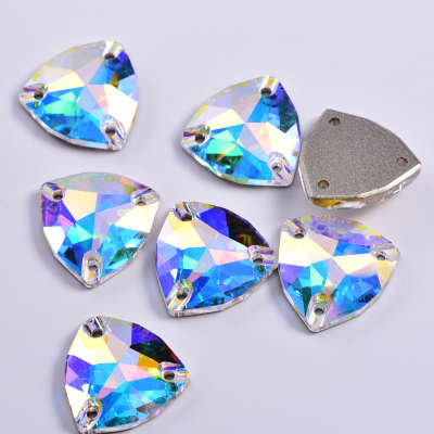 Factory Direct Sale Best Quality Flat back Crystal Rhinestone Fat Triangle Sew On Gems For Dance Dresses