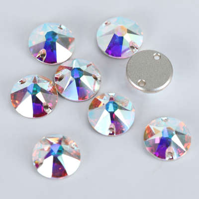 Wholesale Flatback Crystal Rhinestone 8+8 Round Sew On Crystals For Party Dresses