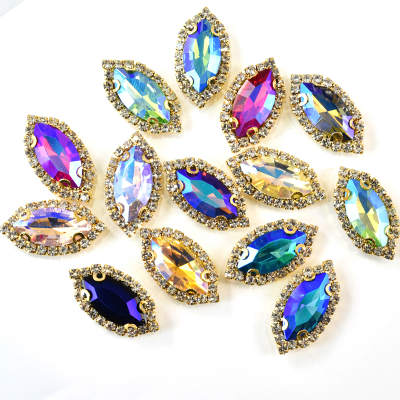 Mix Shape Glass Point Rhinestones 9*18mm Navette Sew On Crystal Rhinestone With Metal Setting For Garment Decoration