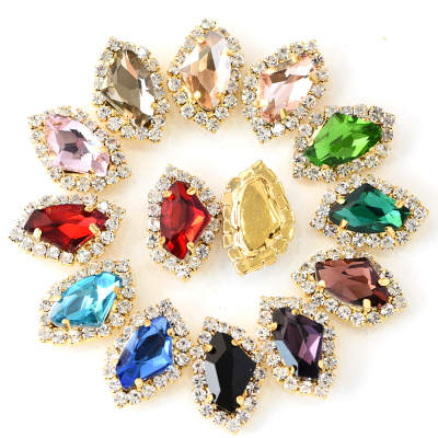 Wholesale Blingbling Axe Shape Glass Sew On Stone Crystal Sew On Rhinestone With Claw