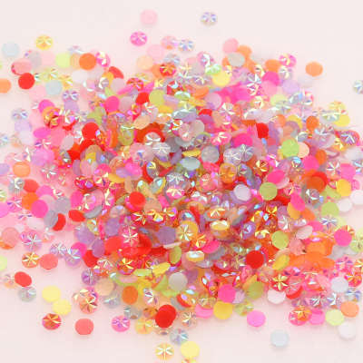 5mm Flatback Non Hot Fix Round Stone Colorful Jelly Resin Nail Art Rhinestone