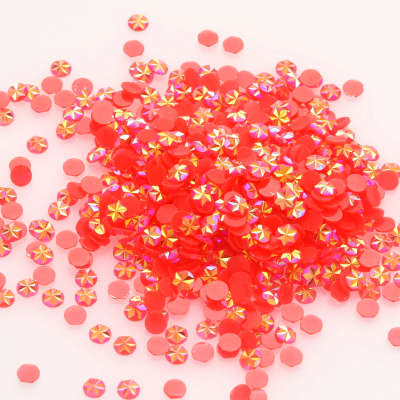 Free Sample 5mm Flatback Non Hotfix Round Beads Siam AB Jelly Ice Flower Resin Nail Art Rhinestone Factory