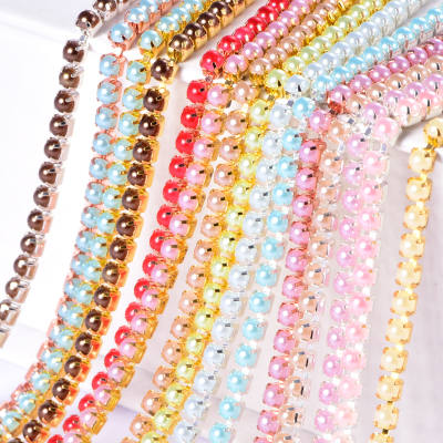 Golden Base Rhinestone Chain Cup Close Chains New ABS Pearl Rhinestone Chain