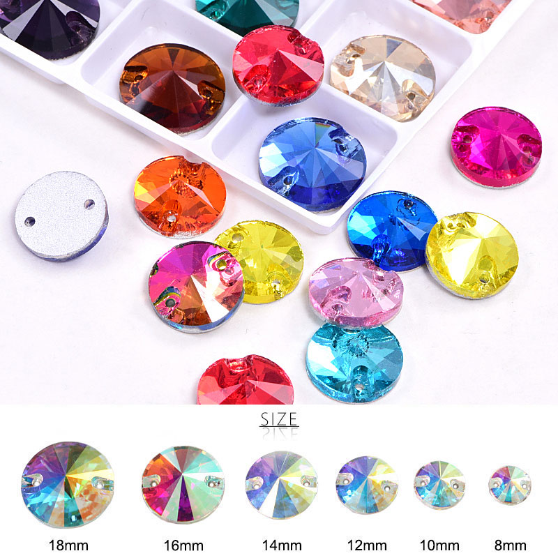 Over 50 Colors Rivoli Shape Flat Back Sew On Gems Sew On Crystal Rhinestones For Woman Dresses
