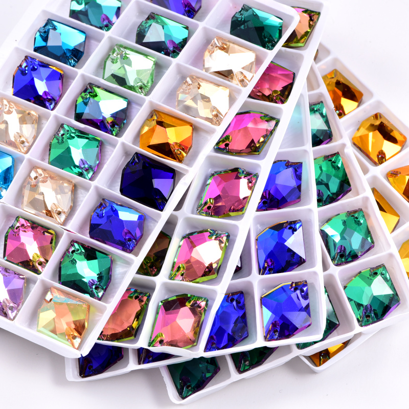 AAA quality flat back 12mm rivoli shape sew on crystals stone